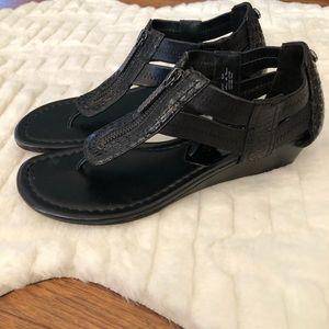 Donald J Pliner Black leather Wedge Sandel
